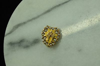 "10K Yellow Gold Seed Pearl Lapel Pin With The Letter ""m"" Or ""w"""