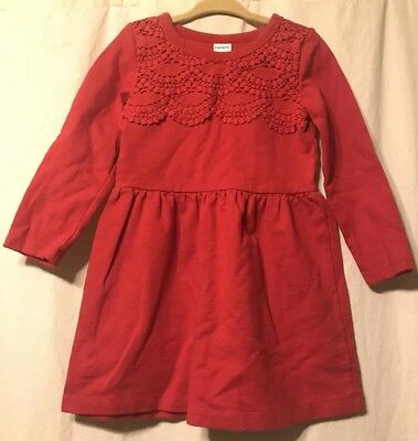 Carters Size 3T Red Toddler Girls Dress With Lace Detail 100% Cotton
