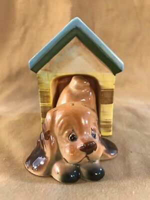 Vintage Dog In Doghouse Salt pepper Set Brown Dog Floppy Ears Blue Label Japan