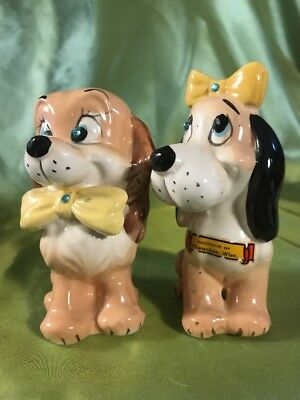 Kreiss SNP Shakers Boy Girl Brown Dogs With Yellow Bow Ties And Rhinestone Eyes