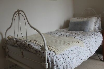 Original Antique Victorian White Single Cast Iron Bed Frame and Ikea Mattress