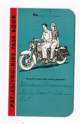 Original 1957 Old Harley Davidson Biker Motorcycle Club Plan Payment Booklet