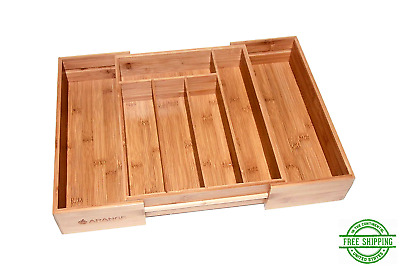 Deep Kitchen Drawer Organizer Expandable Cutlery Tray Bamboo With 7 Compartments