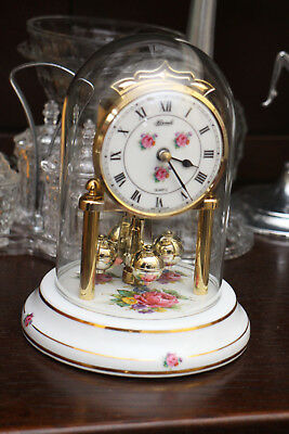Hermle Quartz Anniversary Clock with Glass Dome & Porcelain Detail 7 inch tall