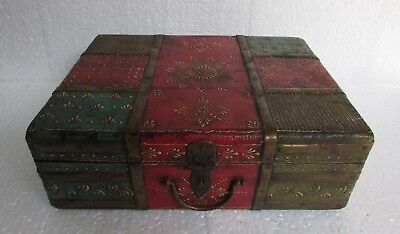Vintage Old Hand Crafted Painted Iron Fitted Indian Merchant Wooden Box