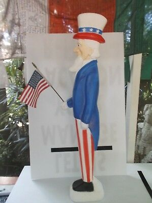 Vtg Don Featherstone Blow Mold Uncle Sam Yard Figure Red White Blue Union Prod