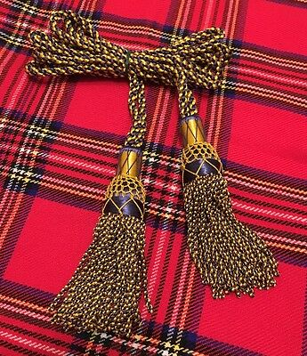 Great Highland Bagpipes Silk Drone Cord Blue/gold/scottish Bagpipes  Drone Cords