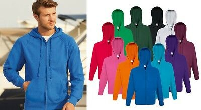 Mens Hoodie Full Zip Sweatshirt Fruit of the Loom Lightweight Hooded Top SS922