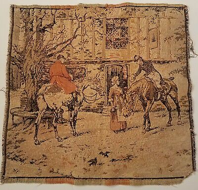 Antique French Tapestry, Men on Horses,  Woman
