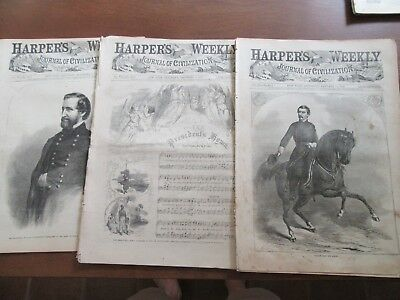 Abraham and Mary Lincoln pictures in 3 Harper's Weekly newspapers 1862 1863