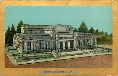 New York City, NY, New York Public Library, Gold Border Vintage Postcard d6425