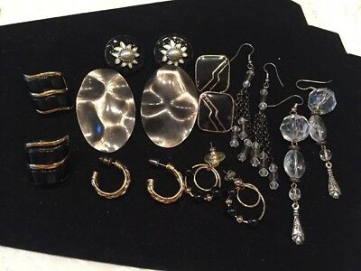 VINTAGE Jewelry Lot Of 8 Pair Of EARRINGS LOT *ALL Good Black HIPPY 70'S