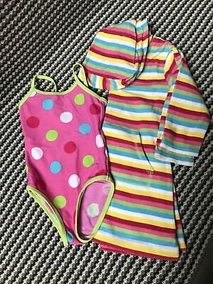 Next Girls Swimsuit and Beach Cosy Towelling Robe Size 1.5 - 2 Years
