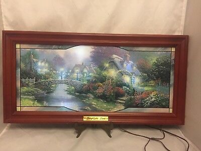 "Lamplight Bridge By Thomas Kinkade Bradford Exchange Light Up - 23 X 11.5"" 2004"