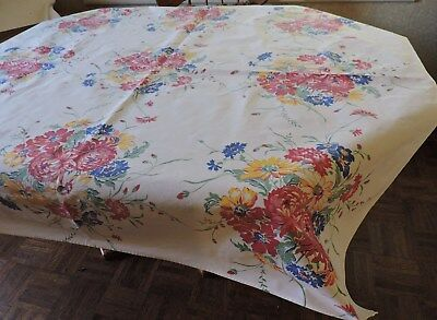 Vintage Tablecloth.  White With Floral Print.  Blue, Red, Yellow.  Preowned.