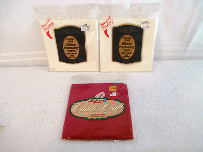 """3 Factory Sealed  Cross Stitch 14 Count Fabric 18x18"""" & Ribbon Embroidery Fabric"""
