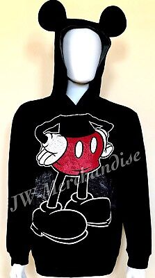 4cab08a8 NEW Disney Parks Mickey Mouse Mens Pullover Hoodie Sweatshirt With Ears  LARGE