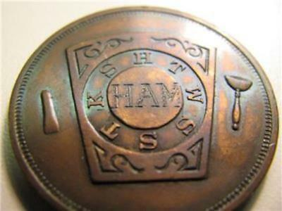 EARLY 1900s OGDENSBURG NEW YORK CHAPTER NO. 63 R. A. M. PENNY TOKEN - MARK: HAM