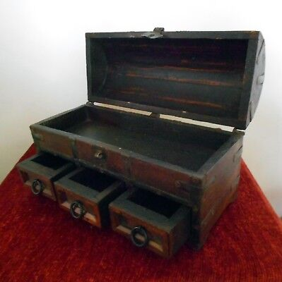 Vintage Wooden Dome Top Jewellery Box