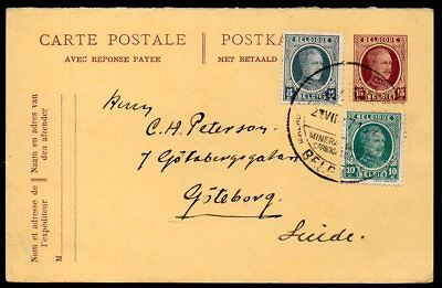Belgium - 1923 Commercial Postcard to Sweden with Pre-Paid Reply Card Intact