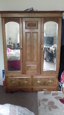Antique Large Victorian Carved Walnut Double Wardrobe with Mirrors, Lockable