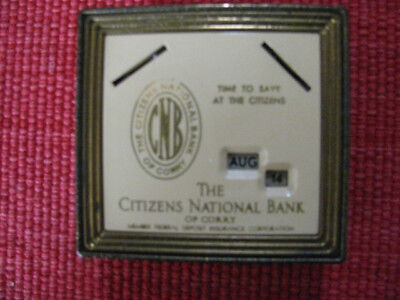 Vintage Citizens National Bank of Corry Coin Bank Desk Calendar with key