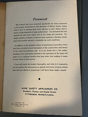 1945 Mine Safety Appliances Co. Instruction Manual Edison Electric Hand Lamps