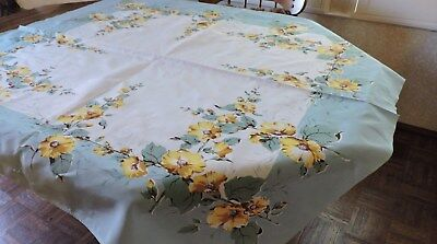 Vintage Tablecloth. Calif. Handprints Faille Fabric.  Turquoise Floral.