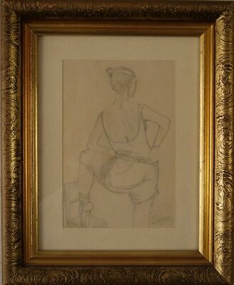 Pencil Drawing Ballerina Nude Signature Degas