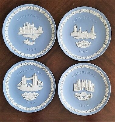Lot of 4 Wedgwood Christmas Collector Plates In Original Boxes 1973, 74, 75, 76