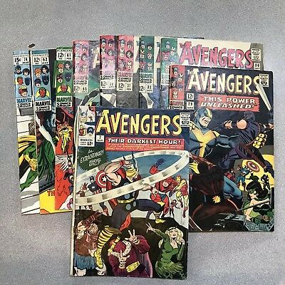 Avengers #7, 29, 30, 32, 37, 39, 45, 61, 62, 74  Silver Age lot of 10.