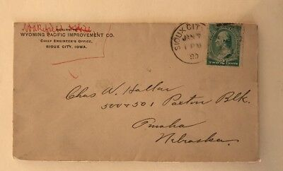 1890 Cover Wyoming Pacific Improvement Co. Chief Engineer's Office Sioux City IA
