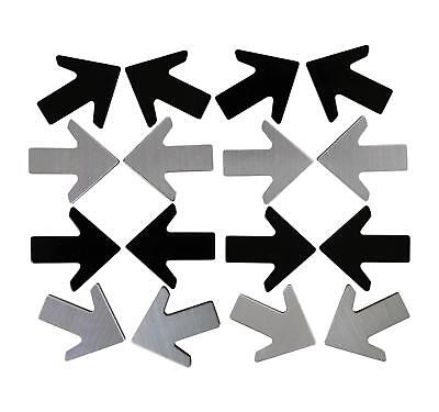 Office Depot Metal Arrow Magnets - 16 Pack - Black And Brushed Steel
