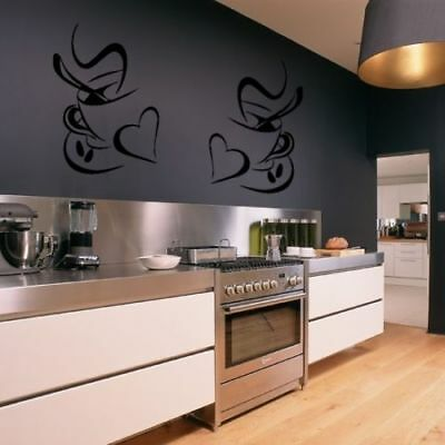 2pcs Coffee Cups Kitchen Wall Stickers Vinyl Art Decals Cafe Diner Hearts