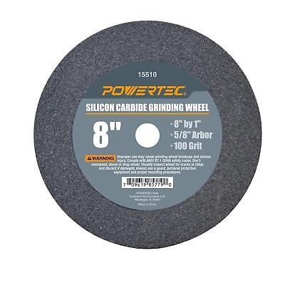 "POWERTEC 15510 5/8"" Arbor 100-Grit Silicon Carbide Grinding Wheel, 8"" x 1"""