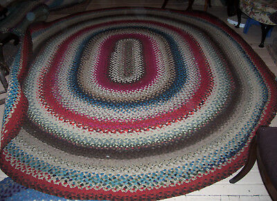 "Vintage Antique Hand Handmade Oval Wool Braided Rug 10'4"" X 8'4"""