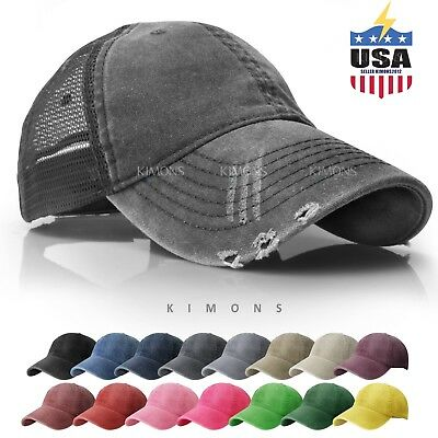 Mesh Trucker Hat Cotton Solid Washed Polo Style Baseball Cap Distressed Summer 2