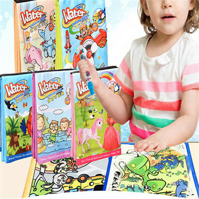 Kids Magic Reuseable Water Drawing Painting Coloring Book with Water Pen Toys YE