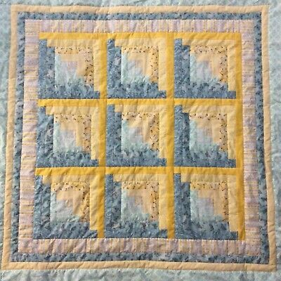 Handmade aqua and yellow log cabin baby quilt flannel backed