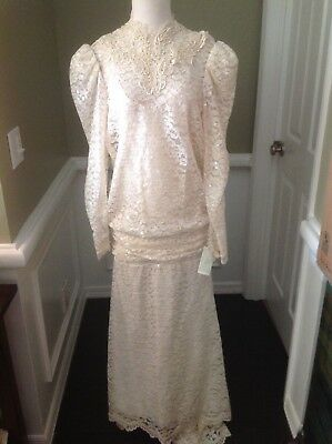 Alfred Angelo all lace vintage style ivory lace sequined gown size 10 #1623