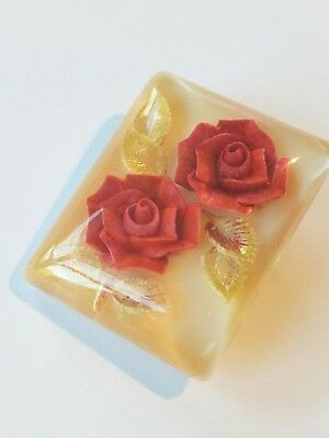 VINTAGE OLD brooch LUCITE CARVED ROSES 1940s