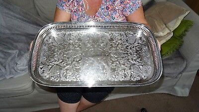 Lovely Large Oblong Cocktail Gallery Tray C.1950 Silver Plate