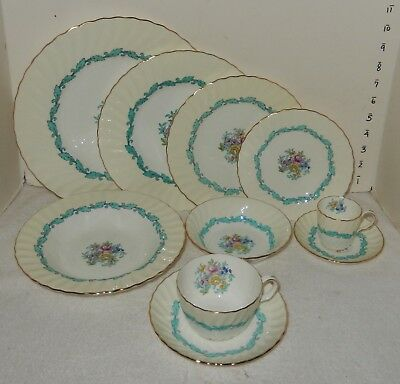 STUNNING 117 pc Serv for 12 Minton Ardmore Ivory & Turquoise Bone China England