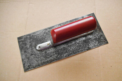 VINTAGE PLASTERING TROWEL -  RED HANDLED with  DOUBLE SHANK