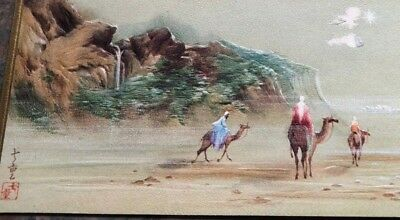 Wisemen Riding Camels Beach Sea Waterfall Artist Tyrus Wong ? Vtg Christmas Card