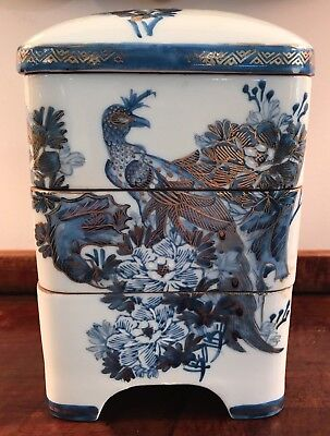 Vintage Chinese Asian Porcelain Peacock Stacking Boxes