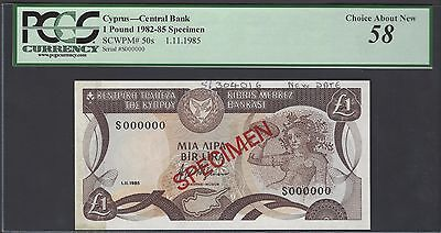 Cyprus One Pound 1-11-1985 P50s Specimen About Uncirculated
