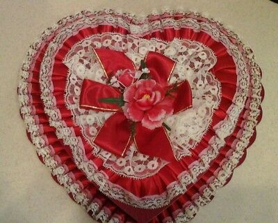 Large Vintage RED Valentine Heart-Shaped Candy Box, Satin, Ruffles, Lace MINTY