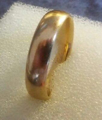 VINTAGE 18K Yellow Solid Gold Plain Wedding Band Size 9 1/2 ((41))