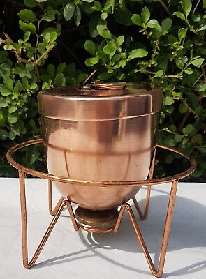 Vintage copper and brass ice cream bombe with stand.